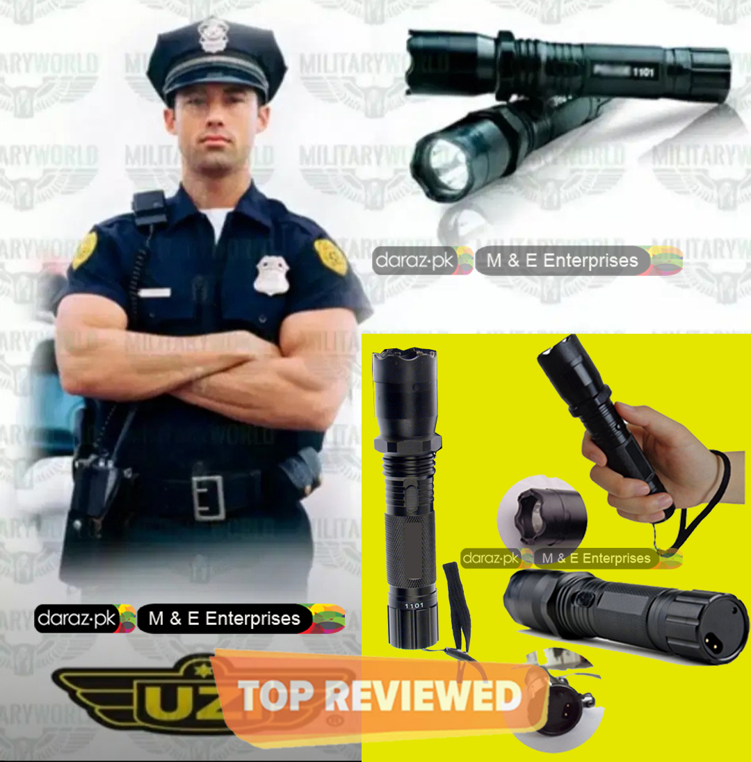Polic Torch-Flash Light High Range Torch-Self Protection Electric Shock - Flashlight 1101 with Built-in LED Flashlight