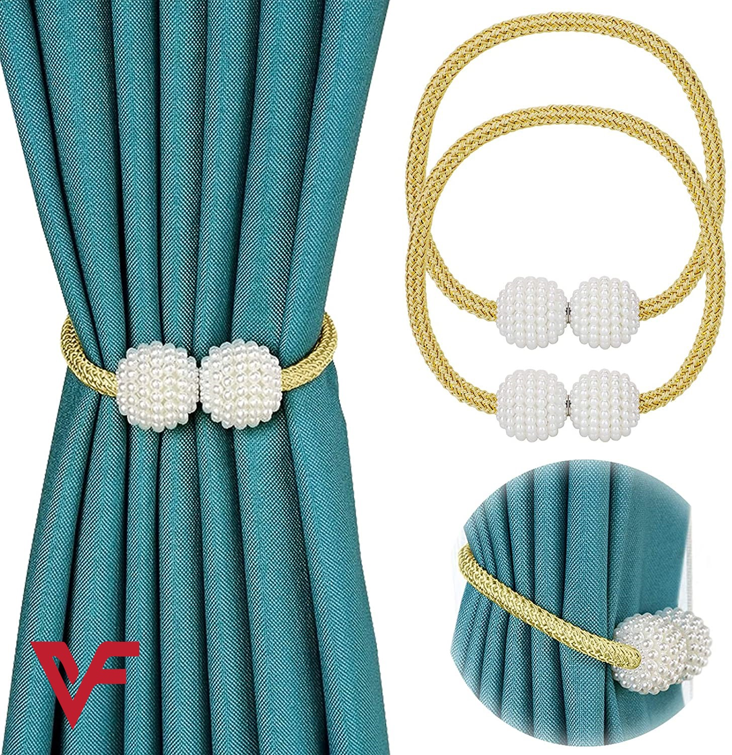 2pcs Parday Curtain Tiebacks Curtain Buckle Draperies Pearl Magnetic Rope Braided Straps Ball Buckles Rings & Buckles Holder Punch Free Curtains Hold Clips Curtain Accessories