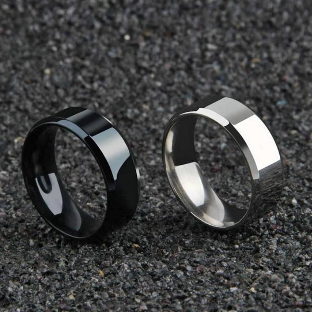 FPS Pack Of 2 Samurai Titanium Ring Unisex