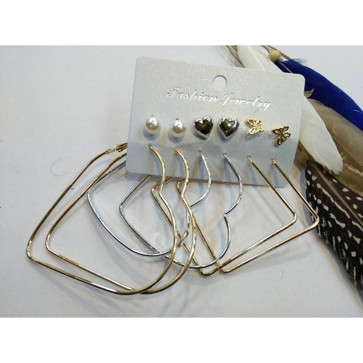 Set of 6 pair of earrings studs tops fancy ear rings fashion hearts