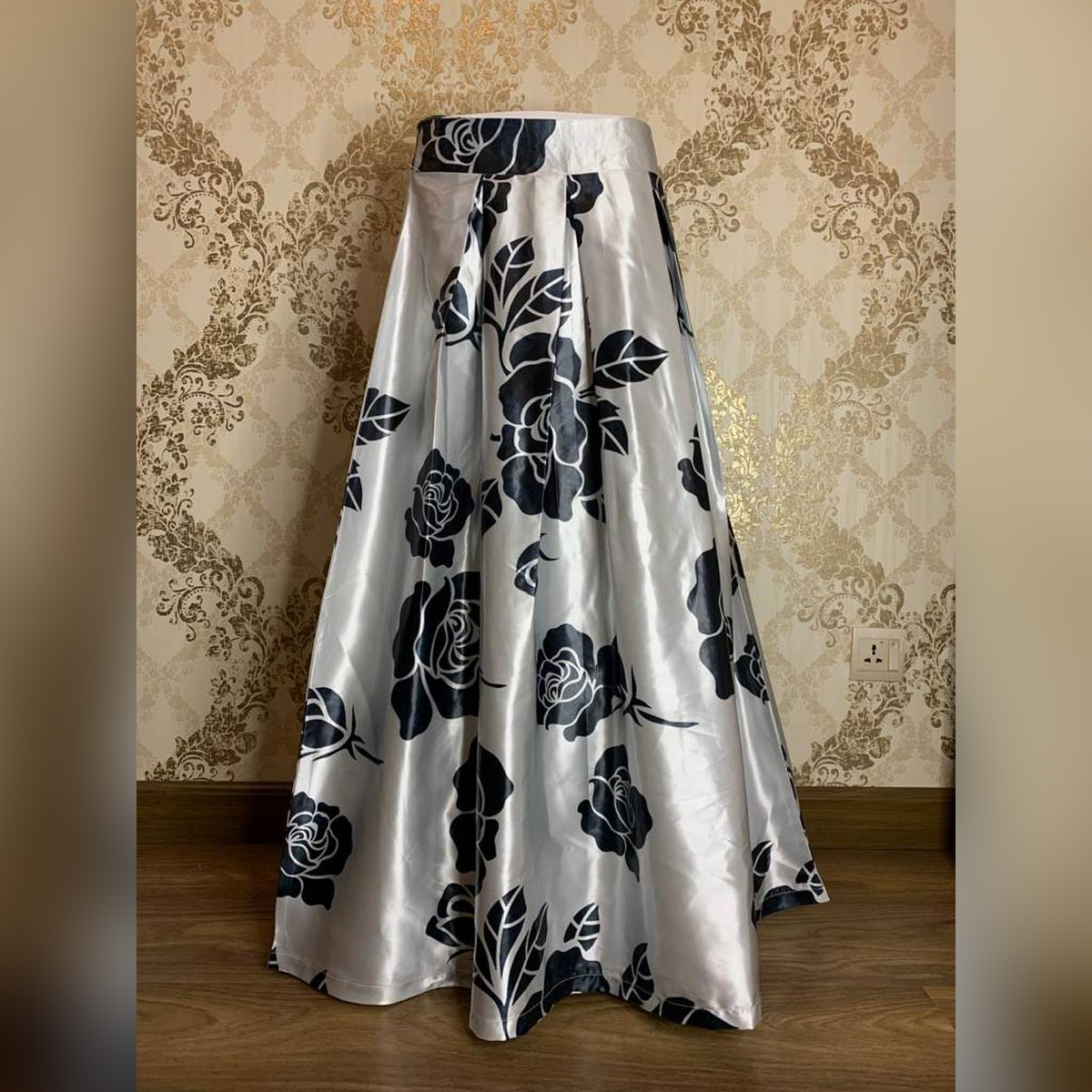 High Waist Flared Maxi Skirts Retro Floral Printed Pleated.