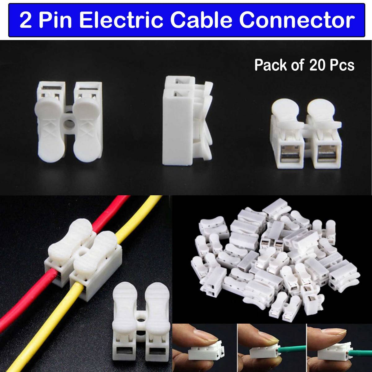 2 Point Screw Less Push Quick Electric Wire Cable Connector 10A 380V Terminal Wiring Splice Lock Wire Terminal for ceiling LED Lights