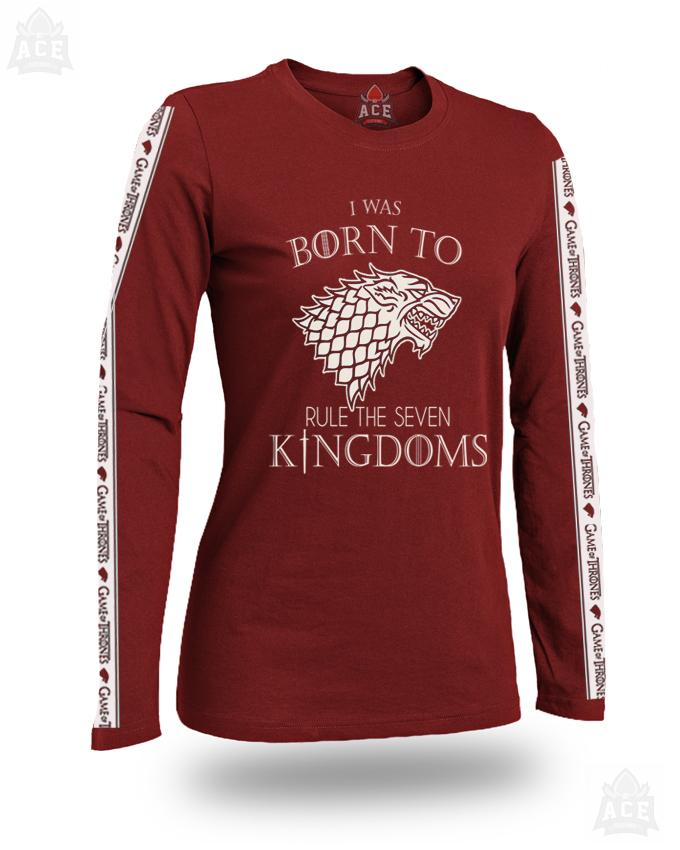 Ace-full Sleeves Maroon Game Of Thrones Cotton Printed Tape T Shirt For Her