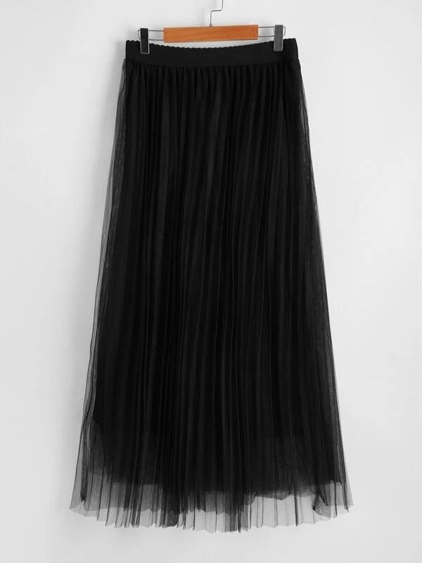 Scallop Edge Waist Mesh Overlay Skirt