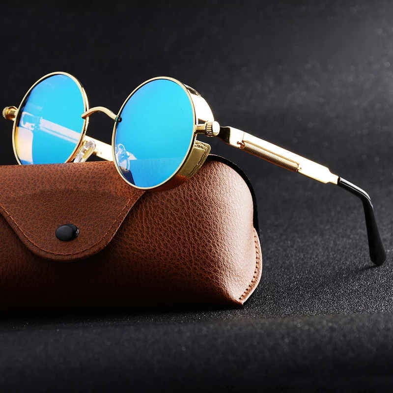 New Trend Top Class New Look Fashion Blue Lens or Gold Frame Sun Glasses for Men and Women