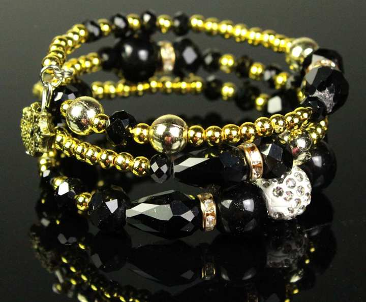 Antique Style Dull Golden Bracelet With Black Beads And Pearls Stoness