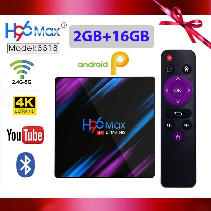 New H96 Max 3318 Smart TV Box 2GB RAM 16GB ROM Android 9 0 RK3318 4K  2 4G/5G Wifi Bluetooth Streaming Media Player