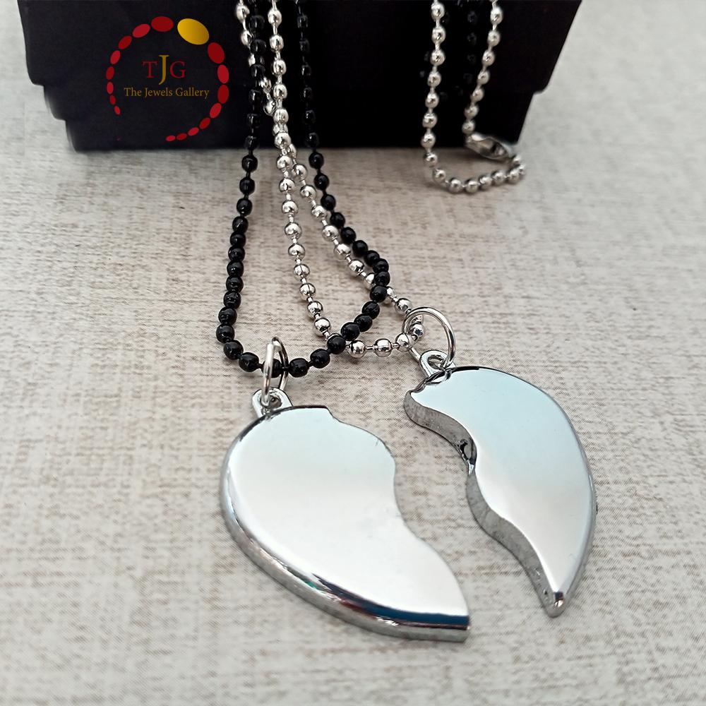 Silver Magnetic Broken Heart Necklace Locket - Heavy Metal Magnetic Heart Pendant Necklace Gift For Friends Couples