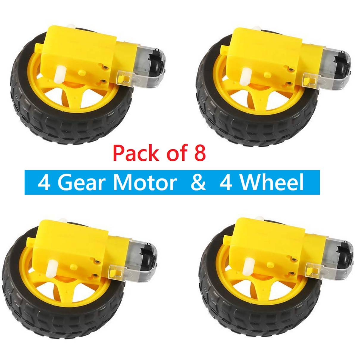 Pack of 8 : DC Gear Motor and Plastic Wheel 3∼6V Dual Shaft Smart Car Robot Geared TT Magnetic Gearbox Engine for Arduino Diy Kit 4 Motor and 4 Plastic Wheel RC Car Gear Motor with Car Wheel