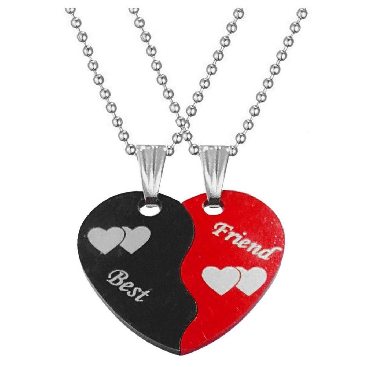 Best Friend Couple Red Black Stainless Steel Necklace Pendant for Men Women