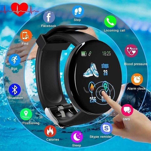 New D18 smart watch Fitness Tracker Smart Watch Band IP65 Waterproof Bluetooth Sport Intelligent Wrist For Call Reminder Motion Detection Device For Xiaomi,Apple,,OPPO,Samsung,Huawei