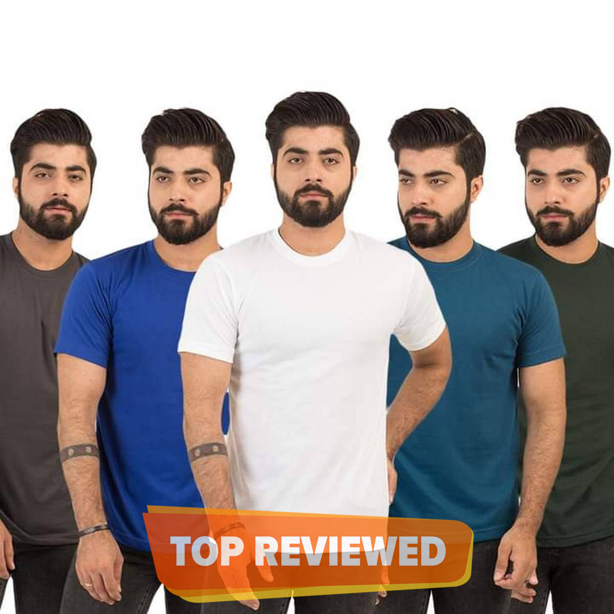 Pack of 5 imported plain half sleeves t shirt