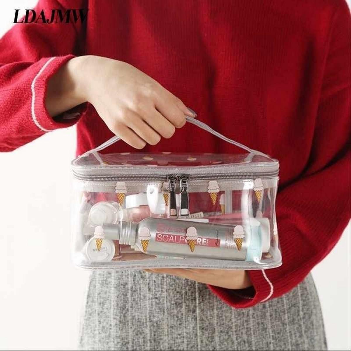 New Fashion Travel Laser Transparent Cosmetic Bag Women Bag Zipper Wash Organizer Cosmetic Waterproof Makeup Case