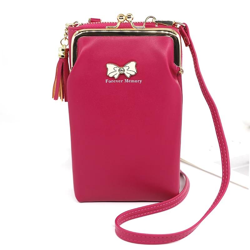 Women Phone Crossbody Bag PU Leather MINI Shoulder Messenger Bag Large Capacity Travel Portable Coin Purse Card Pouch 4.9