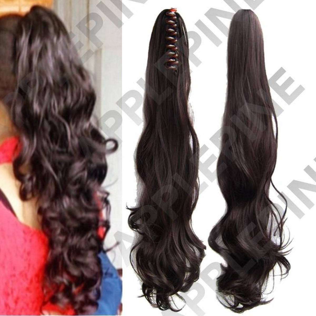 Long Ponytail Big Wave Clip in Pony Tail Hair Extension Ponytail Extension Bendable Synthetic Clip In Ponytail Hair Extension Long Wave Style Ponytail - Natural Brown Color