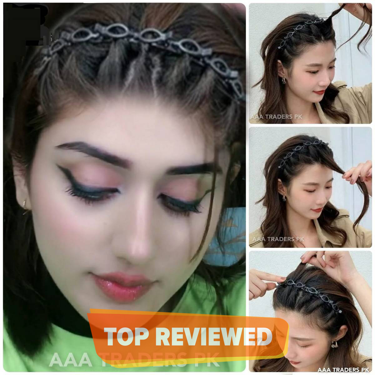 Double Bangs Hairstyle Hairpin Headband for Women Lady Hollow Braid Woven Bangs Clip HairBand Wedding Bride Hair accessories