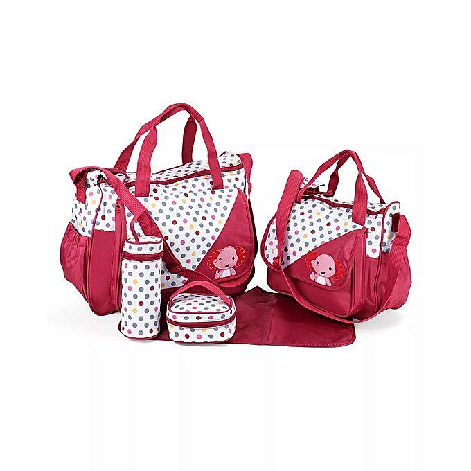 Diaper Baby Bag Set Red Dotted- { 5 Pcs }