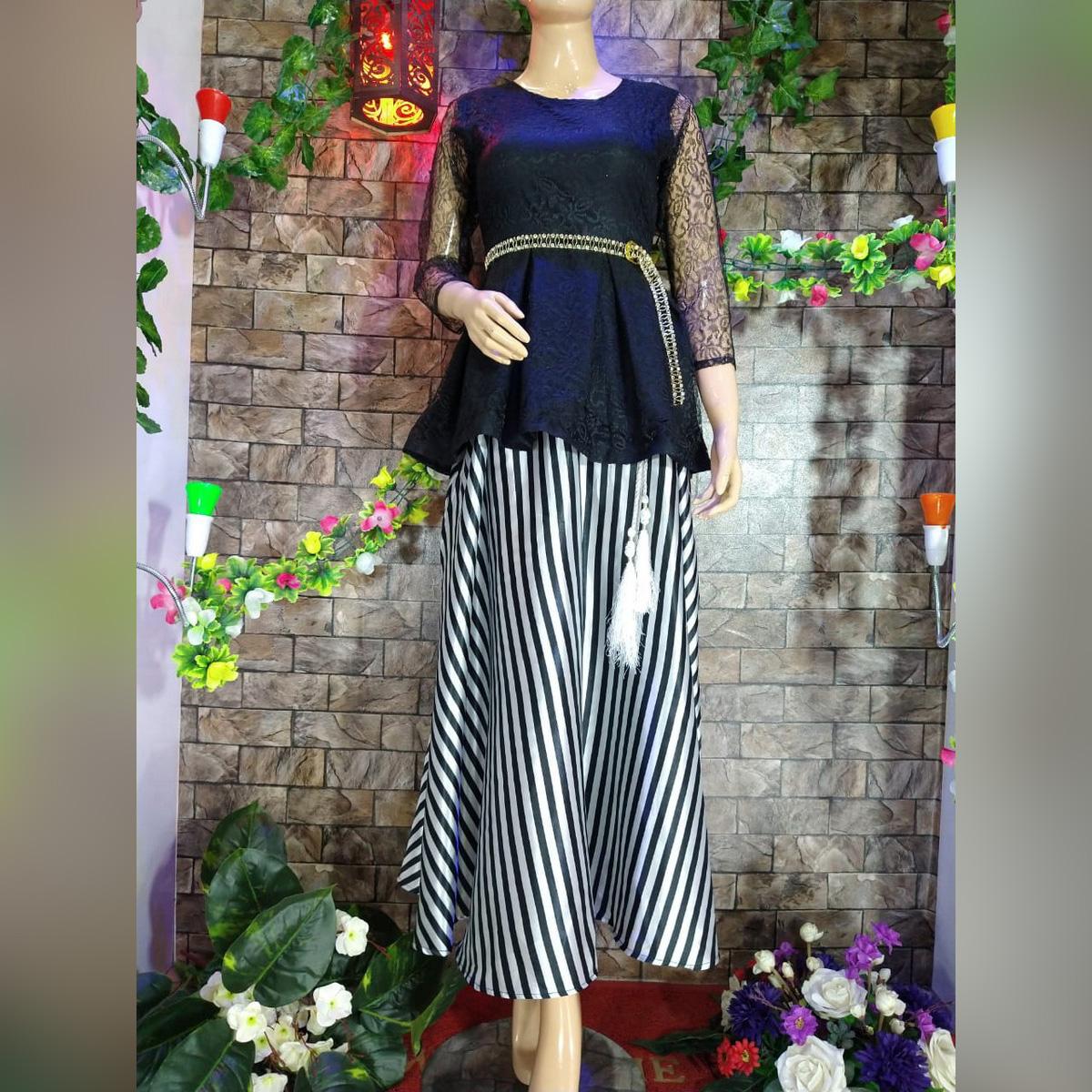 Trendz.pk Black Silk Skirt with Net Top  for Ladies  girls! SK-007