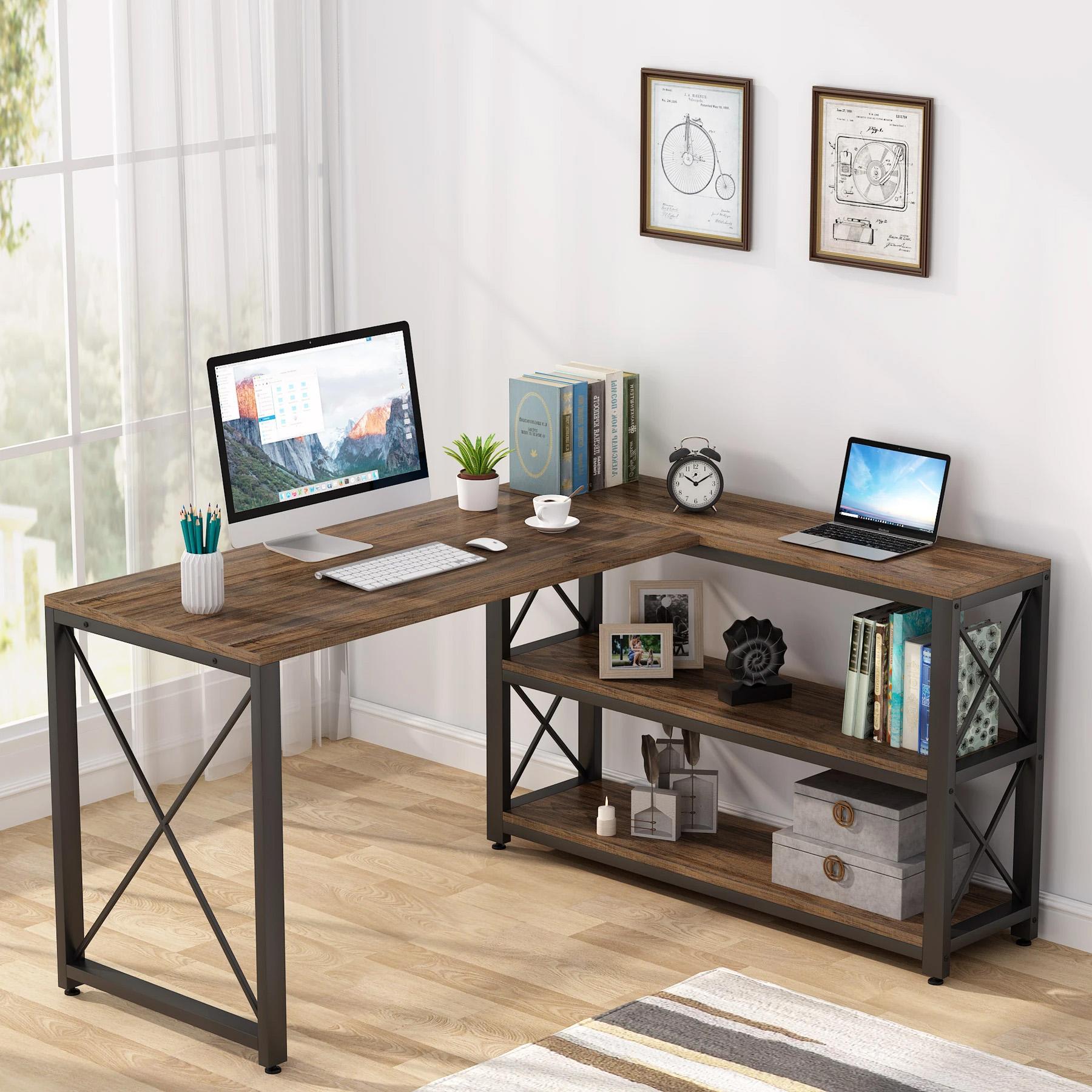 L Shaped Desk with Storage Shelves Corner Computer Desk PC Laptop Study Table