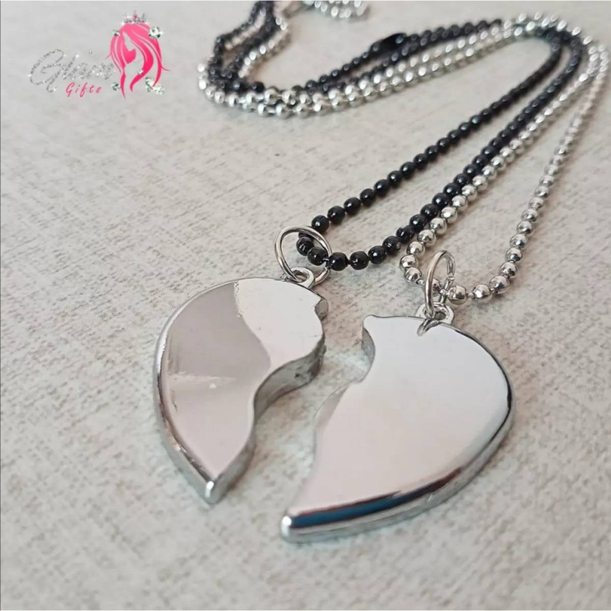 Heavy Silver Magnetic Broken Heart Necklace Locket - Heavy Metal Magnetic Heart Pendant Necklace Gift For Friends Couples