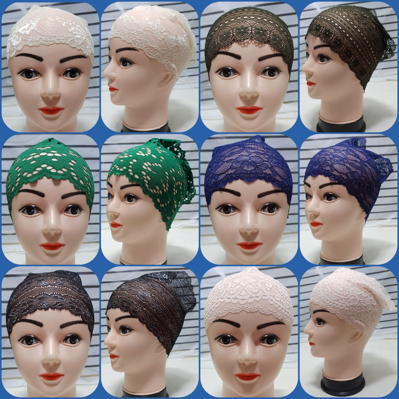 Pack of 6 Lace bands net cap for girls  HIjab caps  hijab caps for girls stylish  Soft & Comfortable Fabric-Multicolors-Adjustable Size
