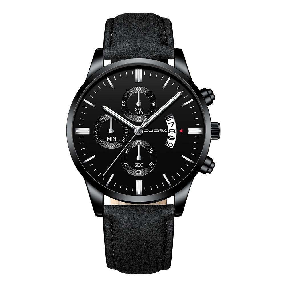 24a5bbcb5e85 CUENA Men Fashion Leather Band Quartz Watch Simple Calendar Business Watches  Casual Big Dial Wrist Watch