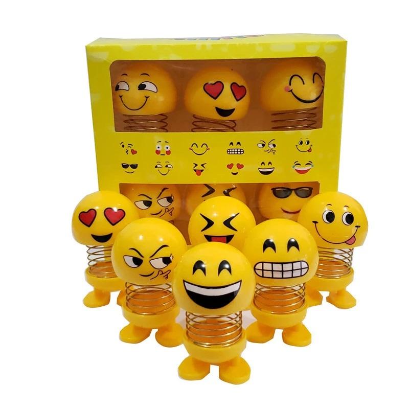 Cute emoji car decoration spring doll pack of 6