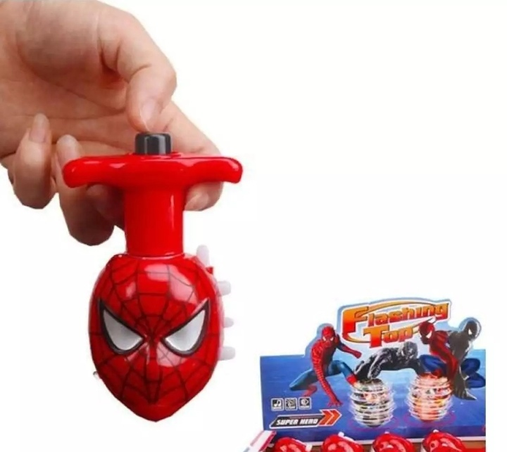 Flashing Spiderman Spinning Top Set with Gyro Light and Music For kids