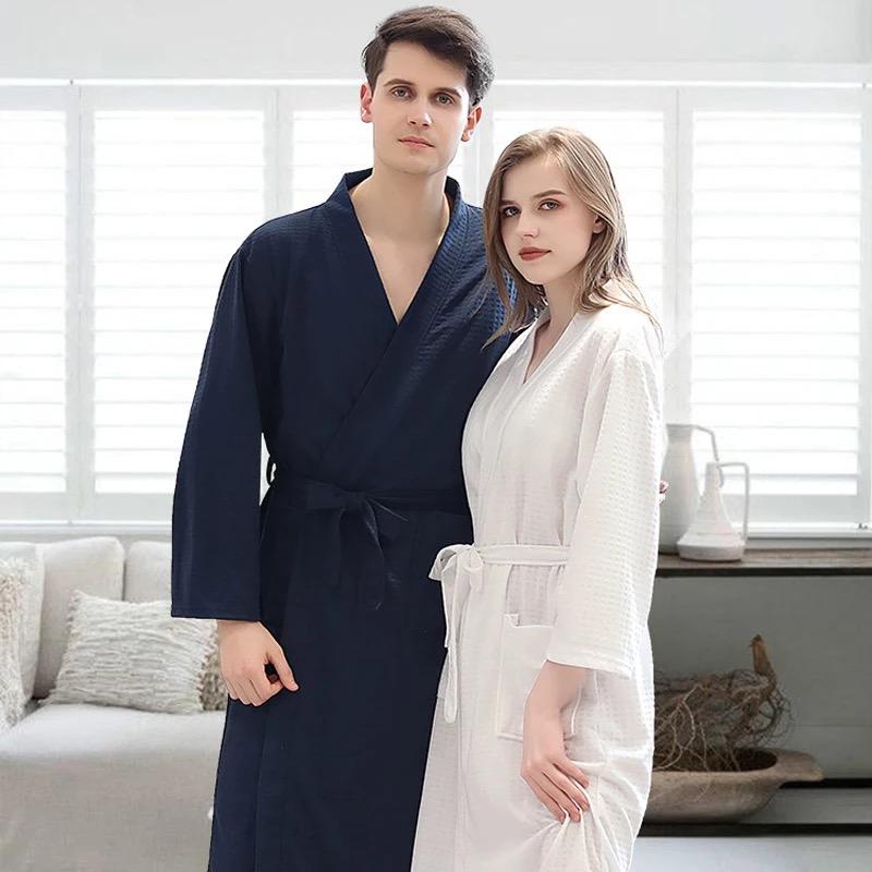 Customize Bathrobe Nama Date Women Men Warm Dobby Cotton Bathrobe Kimono Dressing Gown Bride Set