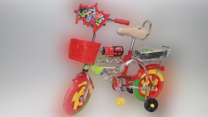 """Kids Bicycle  With Front Basket & Supporting in 3"""" MS Pipe Tire 2-6 Years Old Baby"""