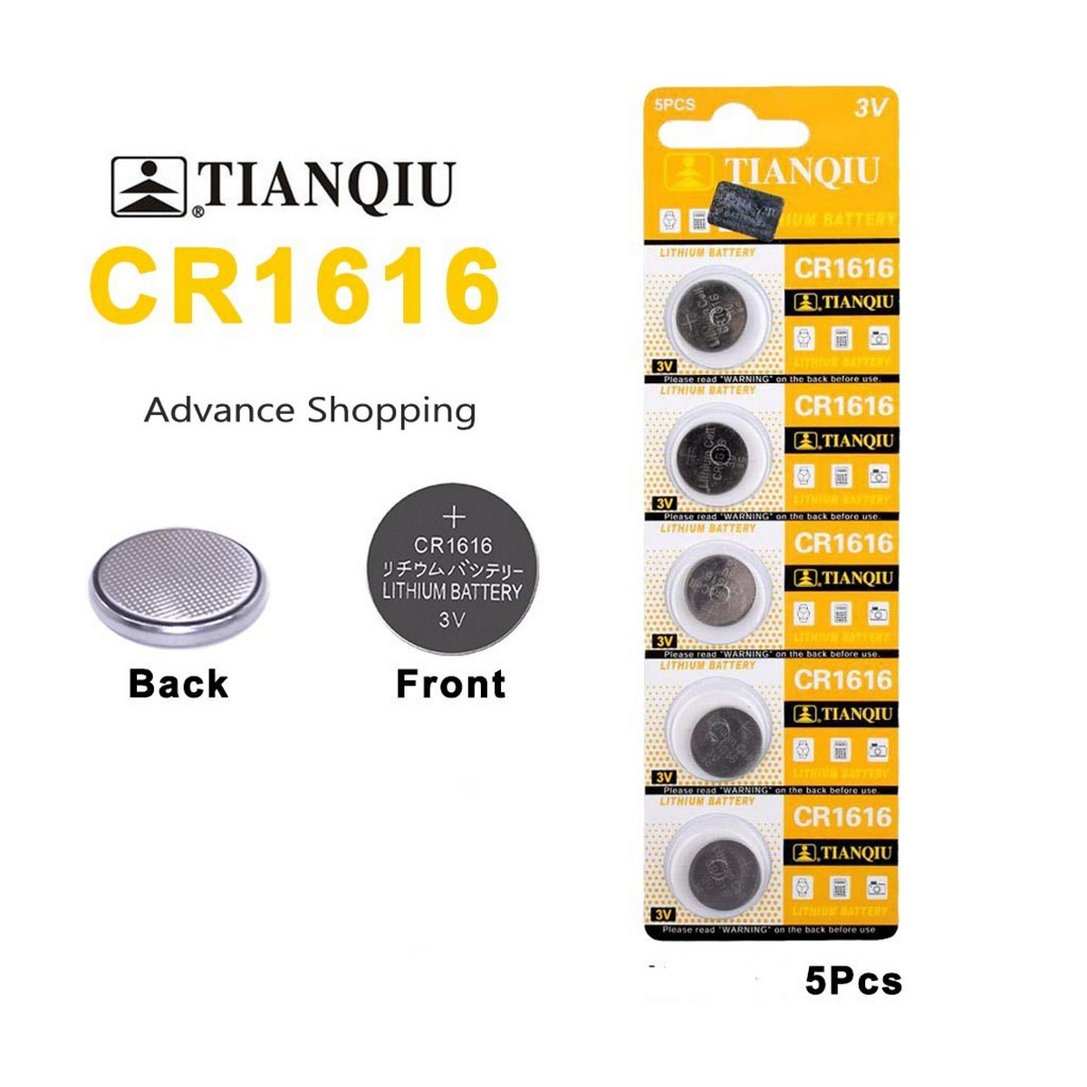 5pcs/pack CR1616 Button Batteries DL1616 ECR1616 LM1616 Cell Coin Lithium Battery 3V CR 1616 For Watch Electronic Toy Remote