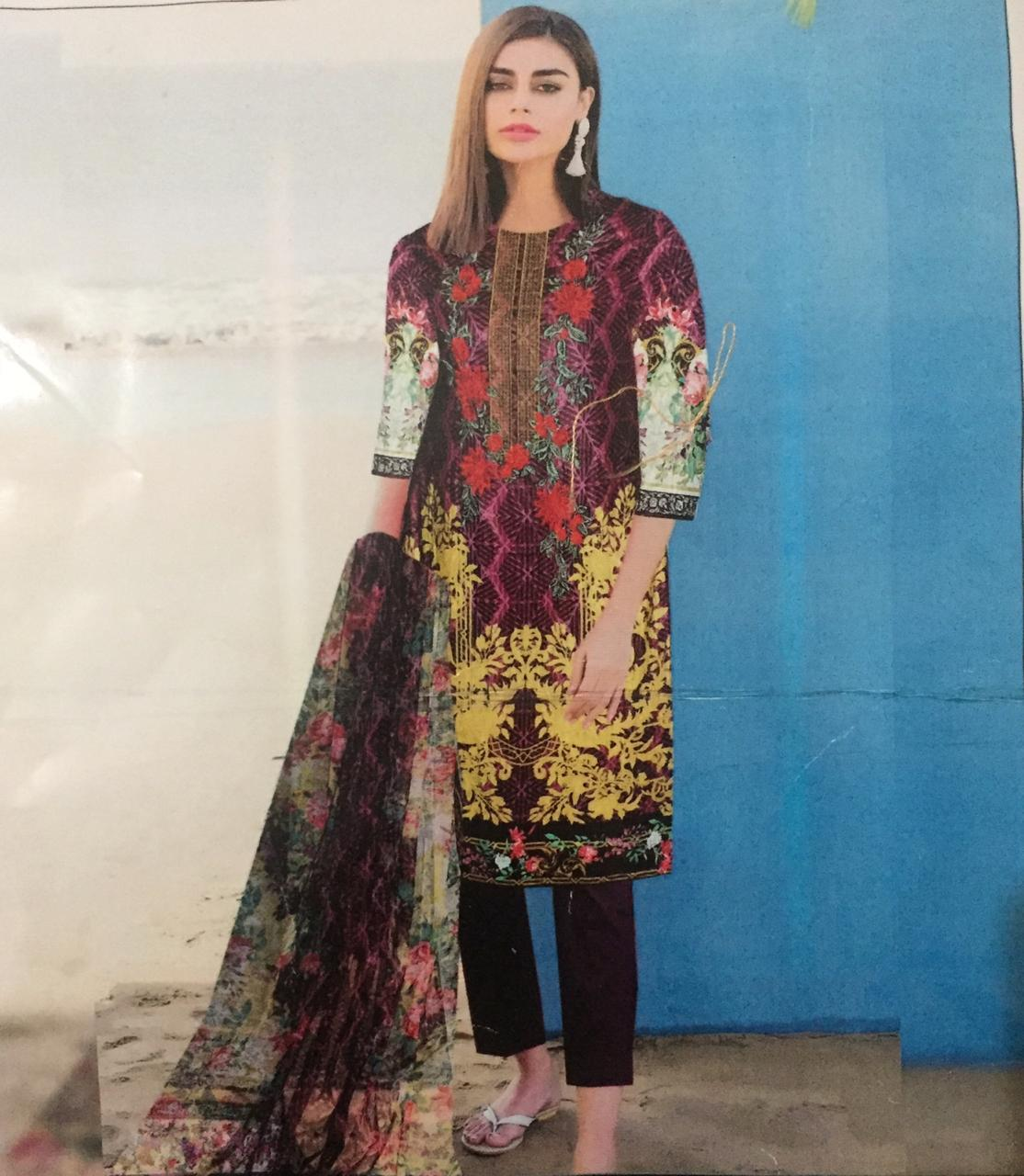 34c4cafe75 Embroidered Multicolour Sana Safina Lawn suit for womens - 3 piece