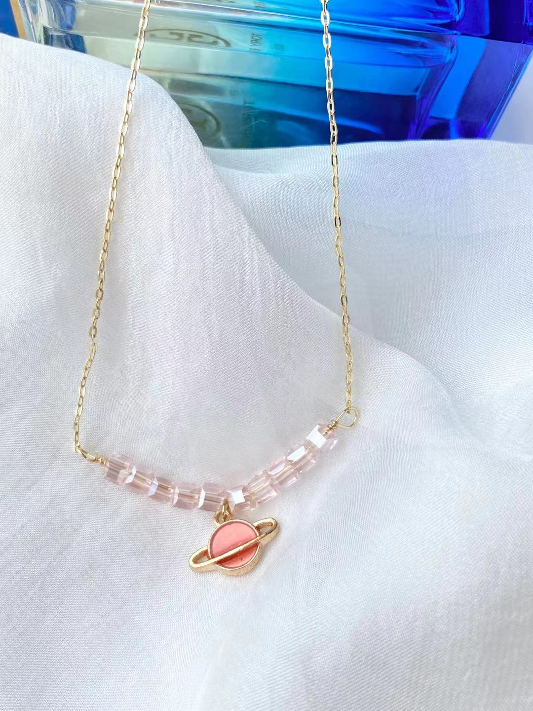 Cute Red Universe 14 k gold plated chain necklace for girls and women, handmade by SM trending store owner