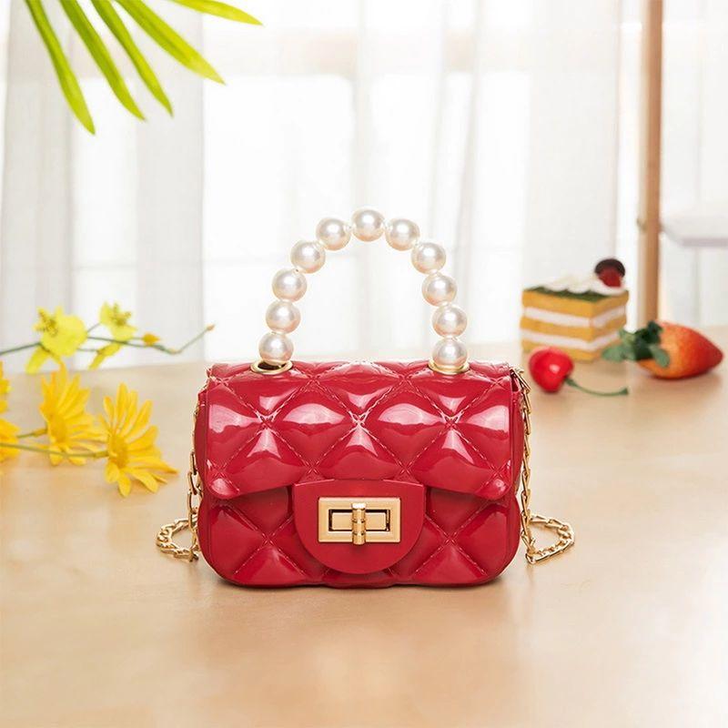2021 Pearl Handle Mini Bag, Jelly Bag Diagonal Female Purse and Pearl Crossbody Girl Bag