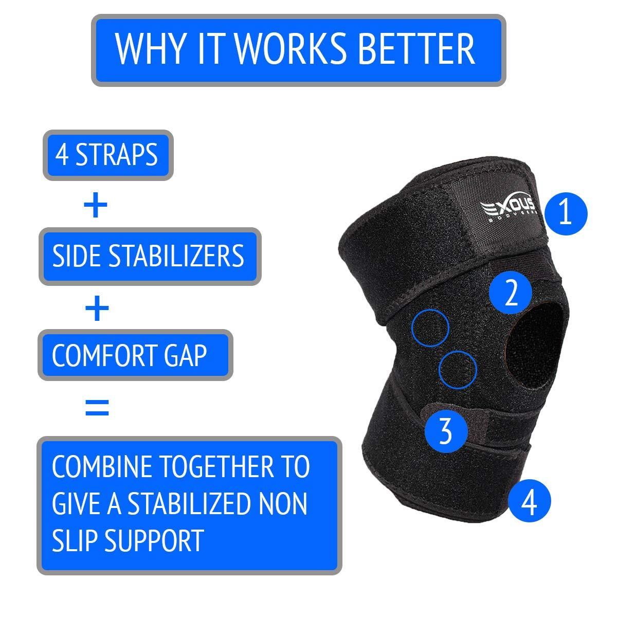20a724564b EXOUS Knee Brace Support Protector - Relieves Patella Tendonitis - Jumpers  Knee Mensicus Tear - Sport