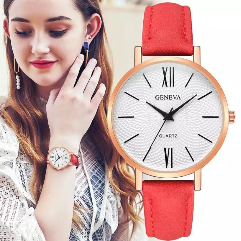 04fe0f11c2 Latest Style Fashionable New Leather Strap Casual Watch for Women Girls