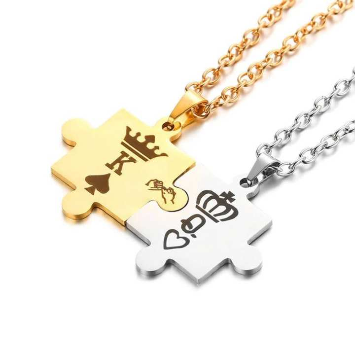 King & Queen Couple Necklaces For Lovers - Jewellery