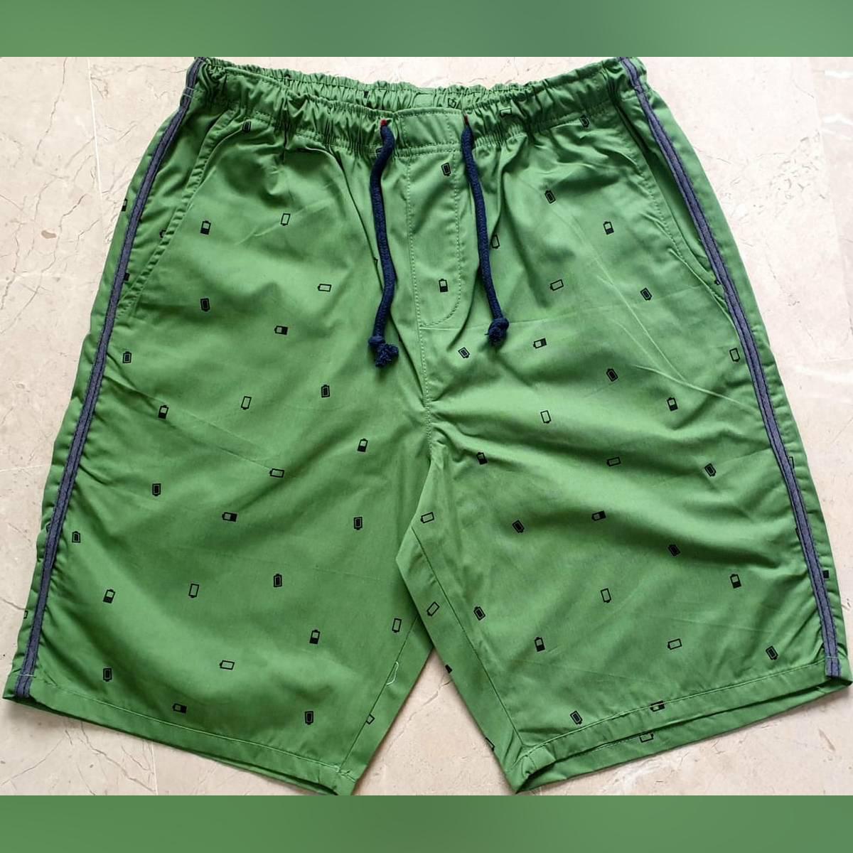 PRINTED GREEN COTTON SUMMER SHORT