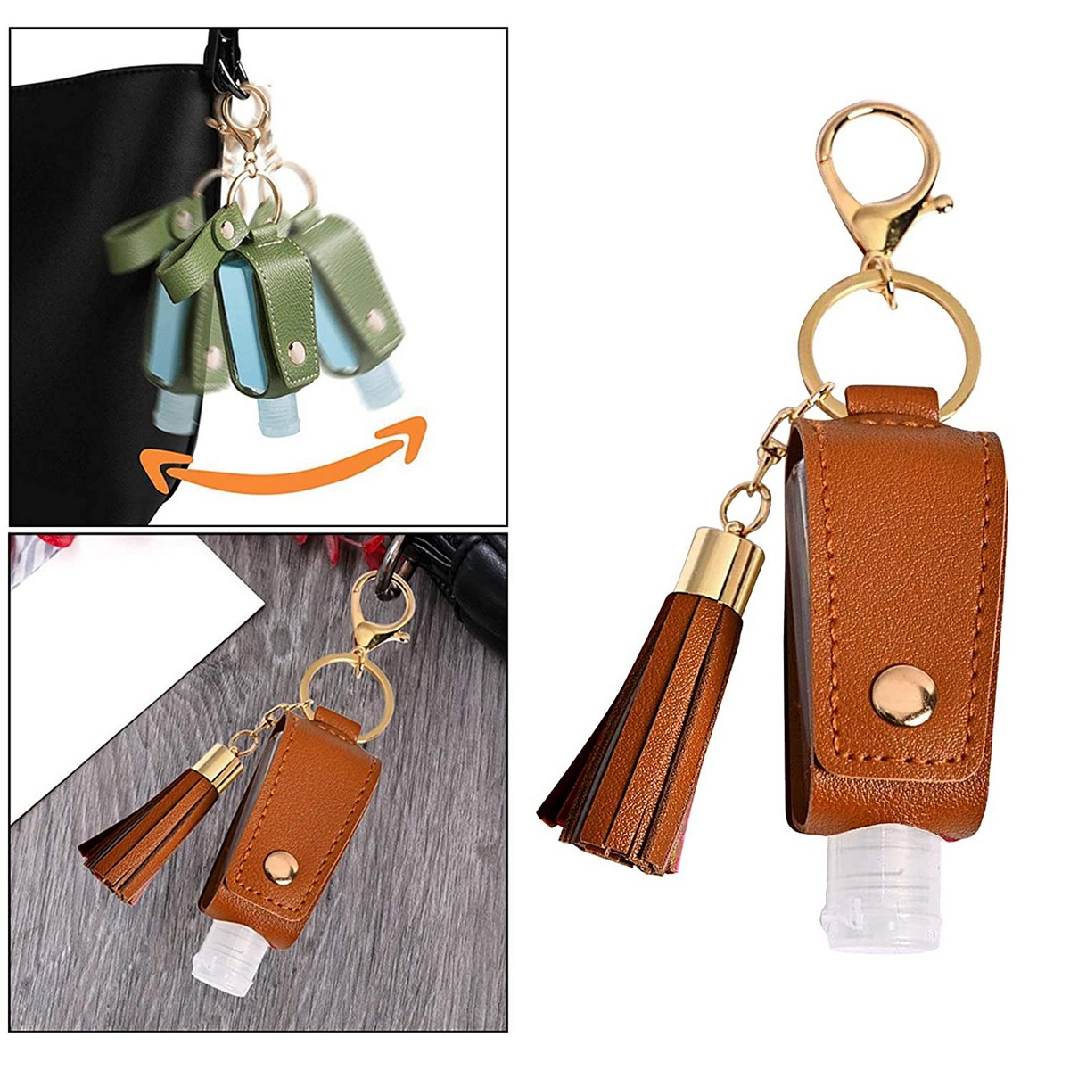 Women,Men PU Leather Keychain Holder Female Multifunctional Bag For Bottle Refillable Container Lady Hand Sanitize Case