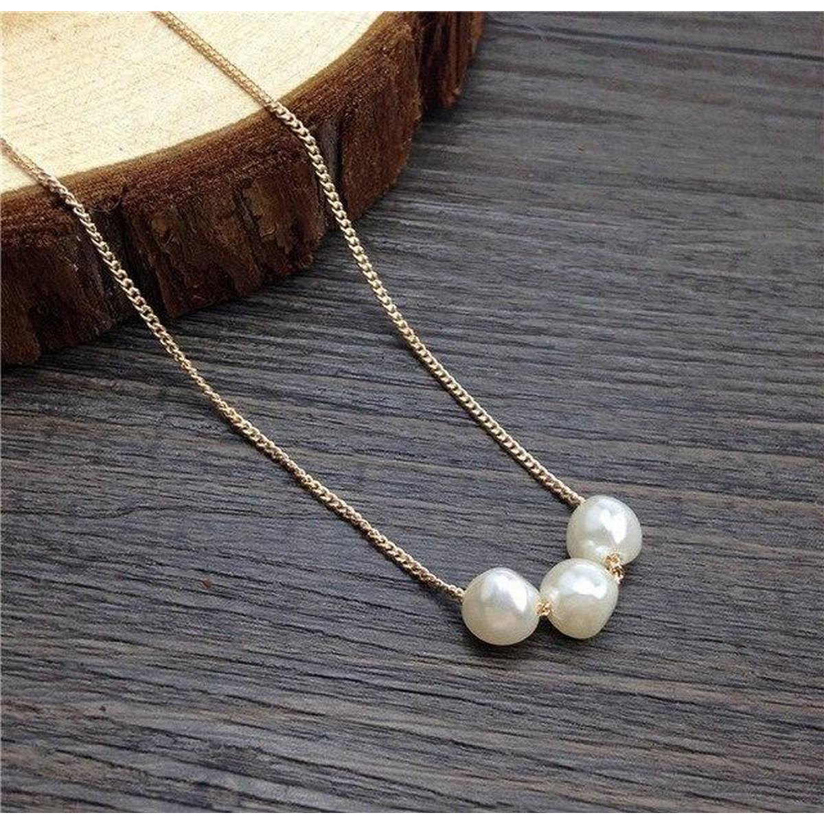 Elegant Three Pearl (Moti) Necklace/Locket/Pendant for Girls/Women