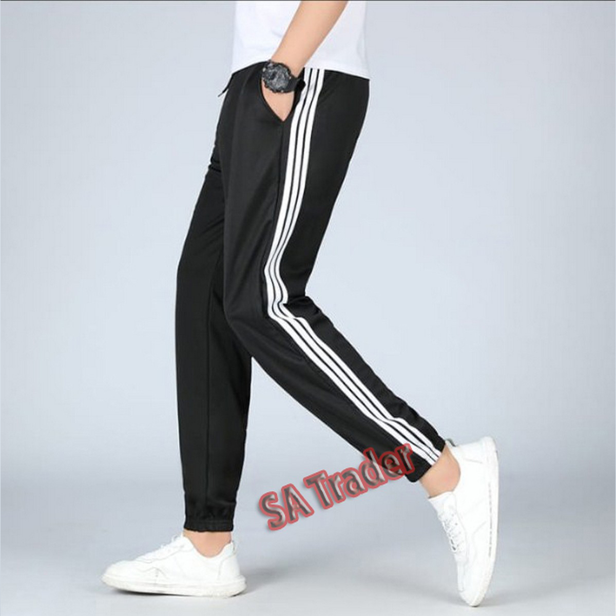 Summer Strip Black Trouser for Man and Women Gym ,Running Casual Wear In Quality Fabric
