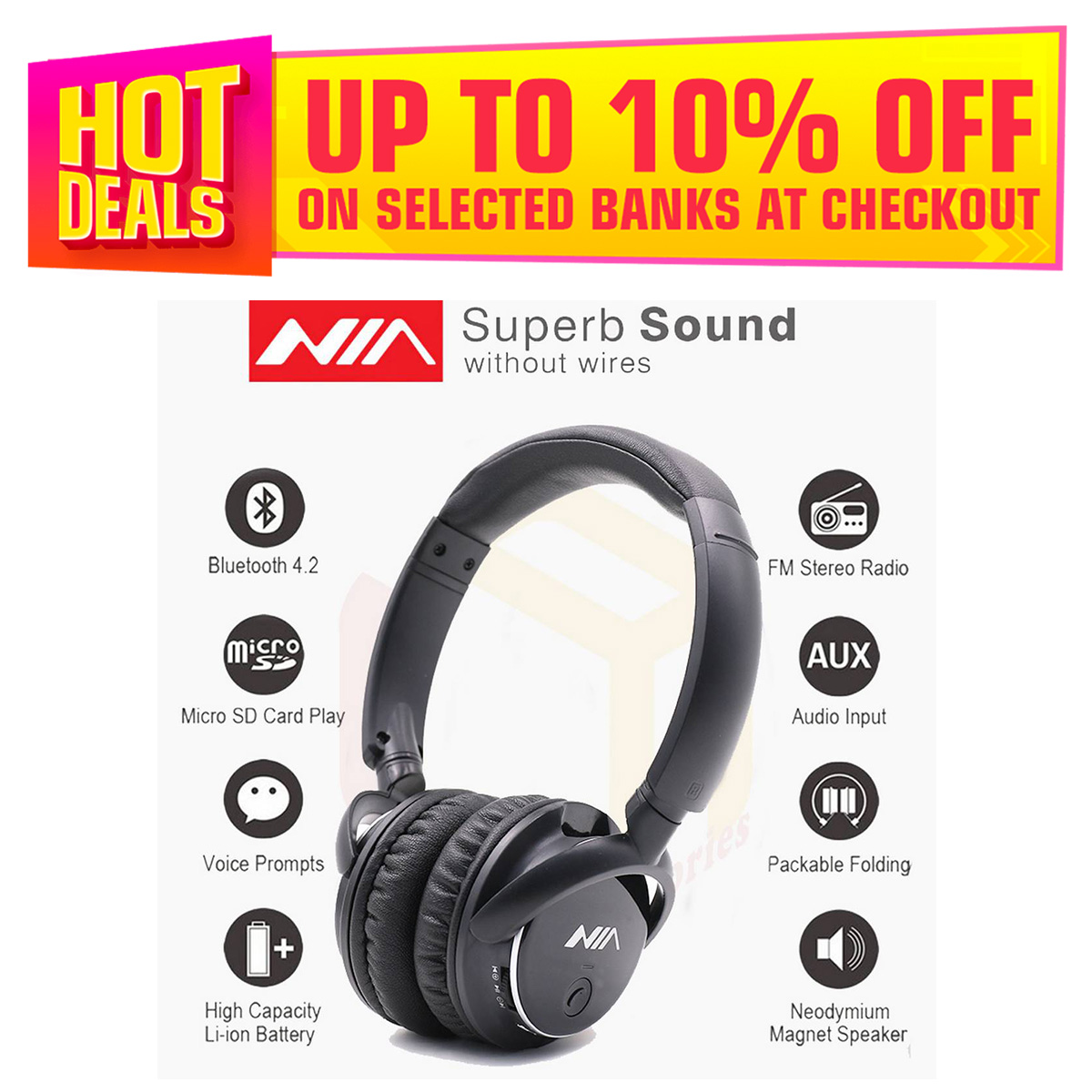 Nia Q1 4 in1 Wireless Bluetooth Headphone Stereo Bluetooth Headsets With Microphone FM Radio Micro SD / AUX Slot