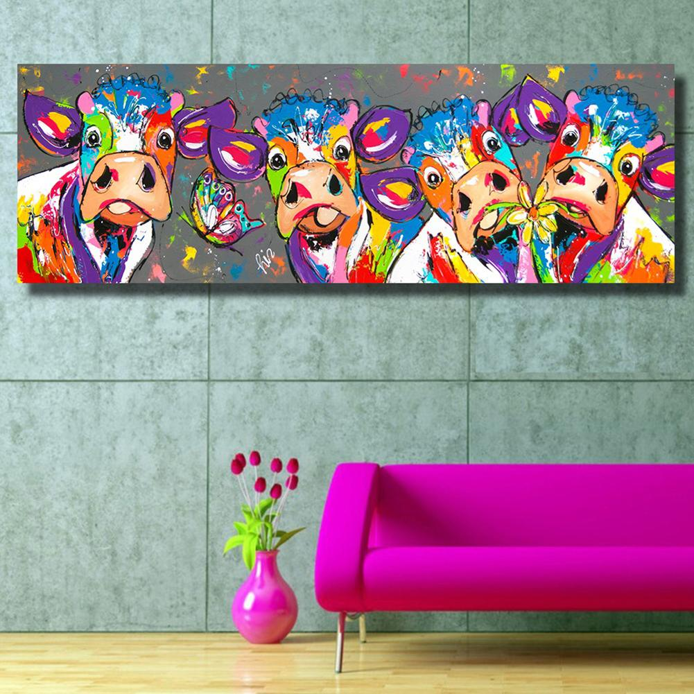Colorful Four Cows Graffiti Canvas Painting Wall Art Living Room Bedroom Decor Buy Online At Best Prices In Pakistan Daraz Pk