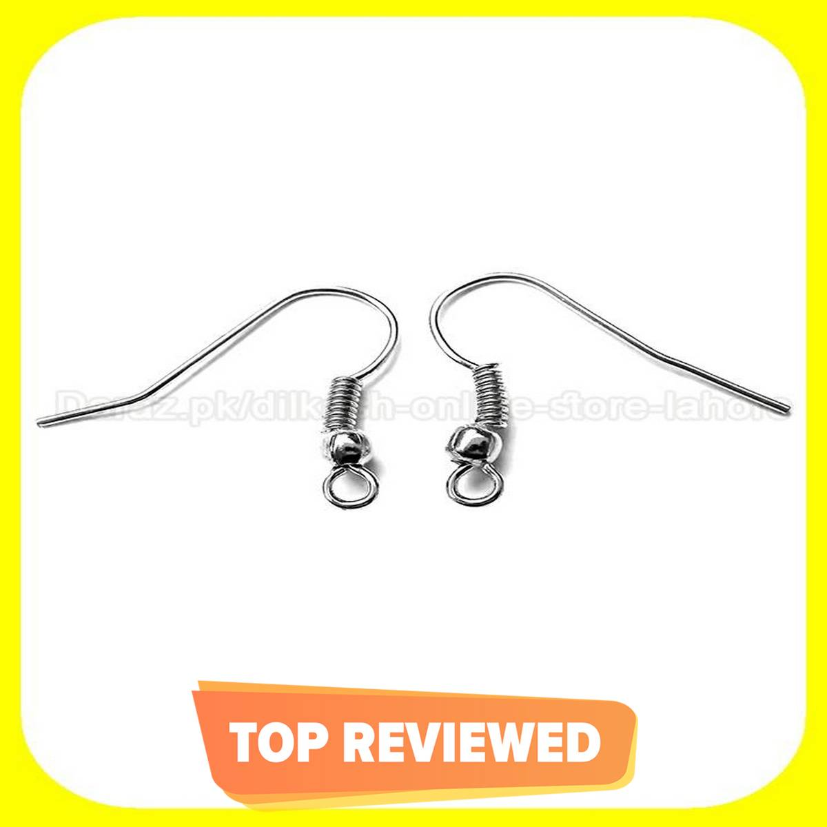 50 Pairs Of Silver Earring Hooks Base For Jewellery Making