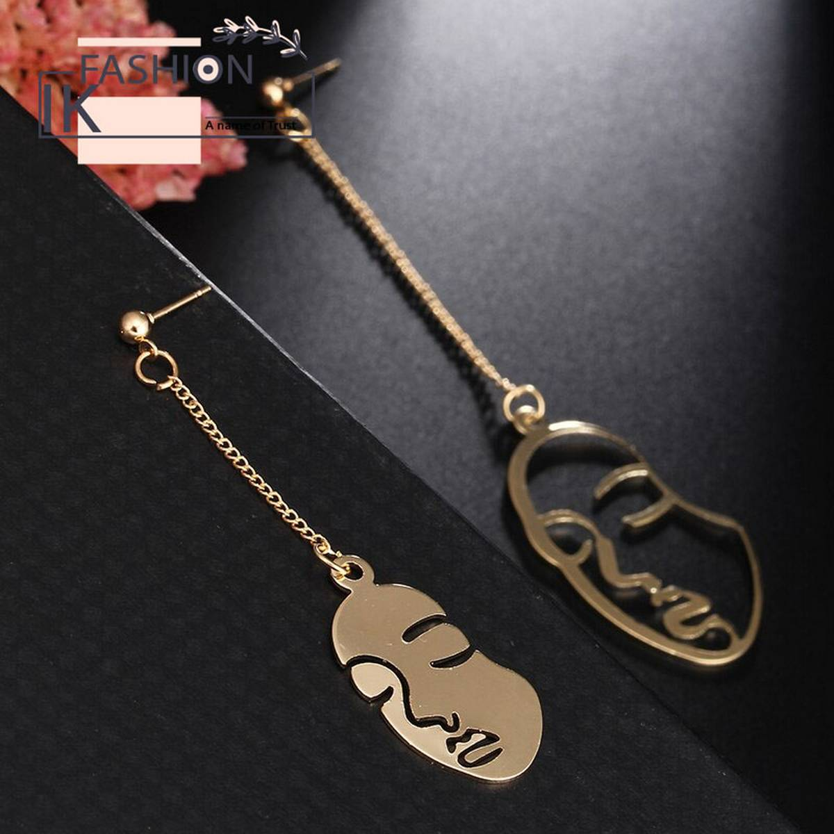 2020 New Abstract Stylish Hollow Out Face Dangle Earring Charming Face Dangle Wire Long Outline Earrings Women Gift Asymmetry