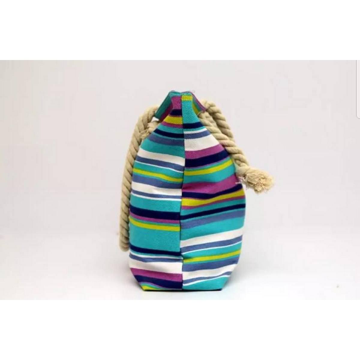 Women Stripe handbag with cotton rope handle