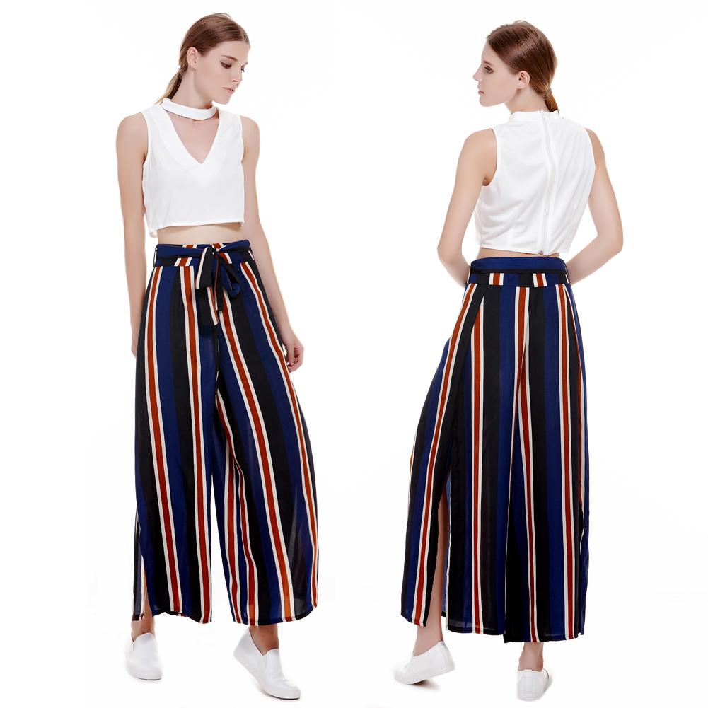 Colourful Vertical Stripes Side Vent High Waist Loose Wide-leg Pants (M)
