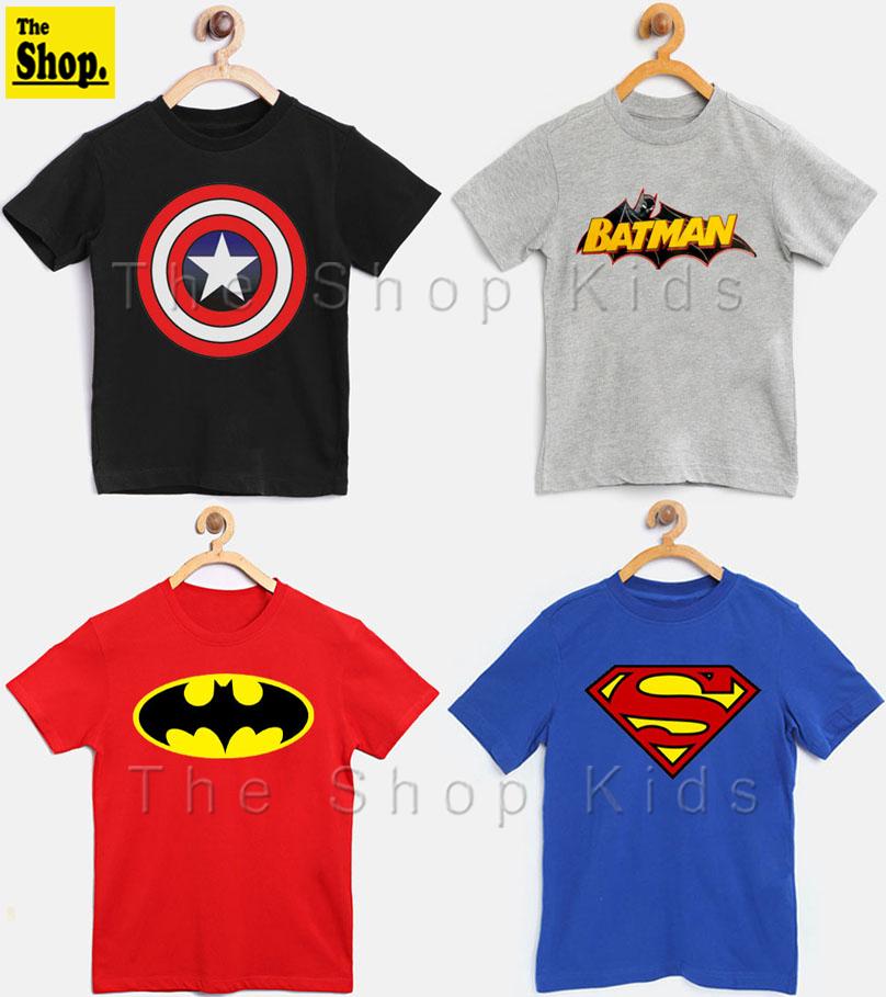 The Shop - Captain America, Batman & Superman Super Hero T-Shirts For Kids - PO4-SH2