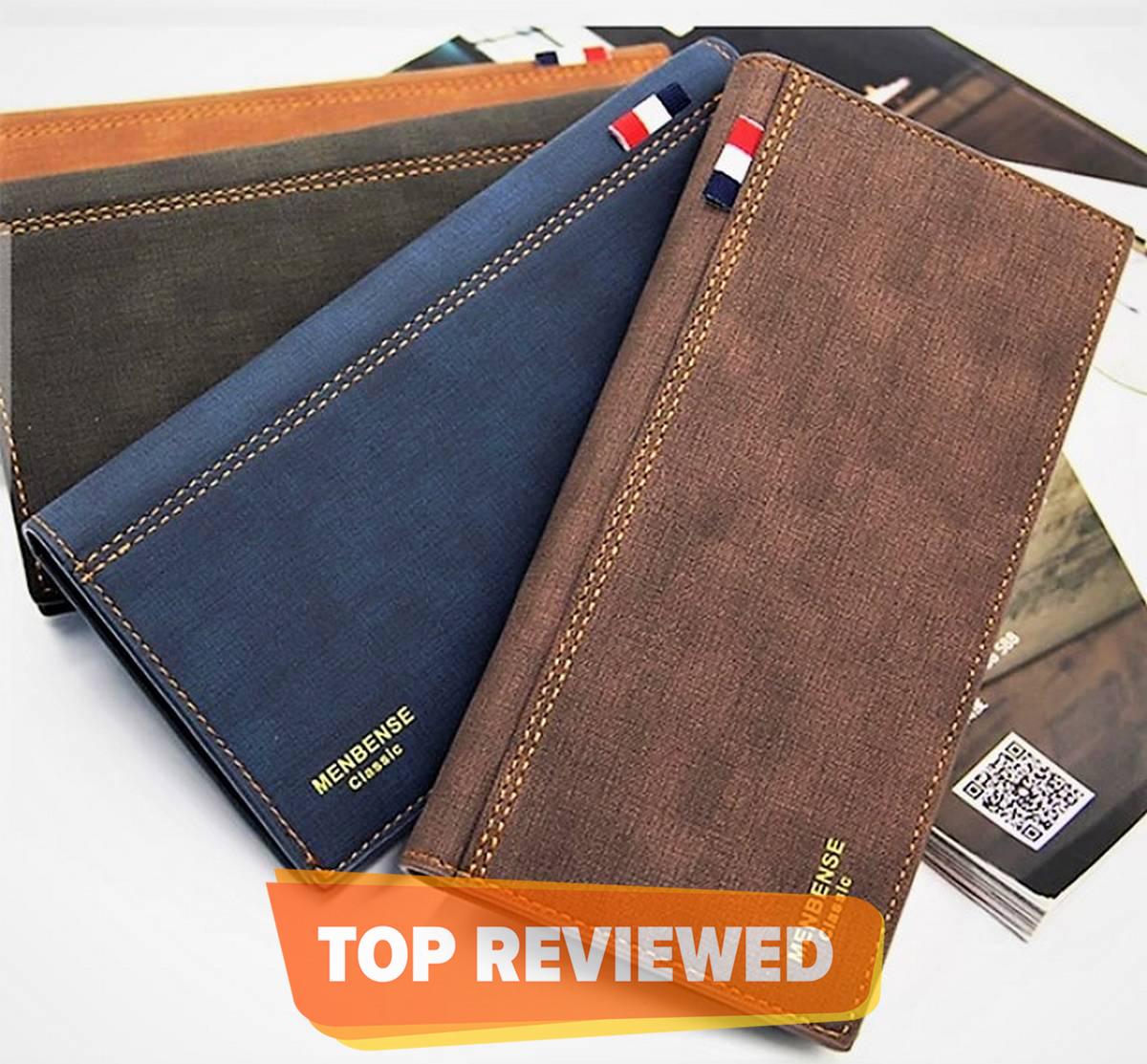 Leather Long Wallet For Men Slim Money Mobile Wallet Card Holder-Black