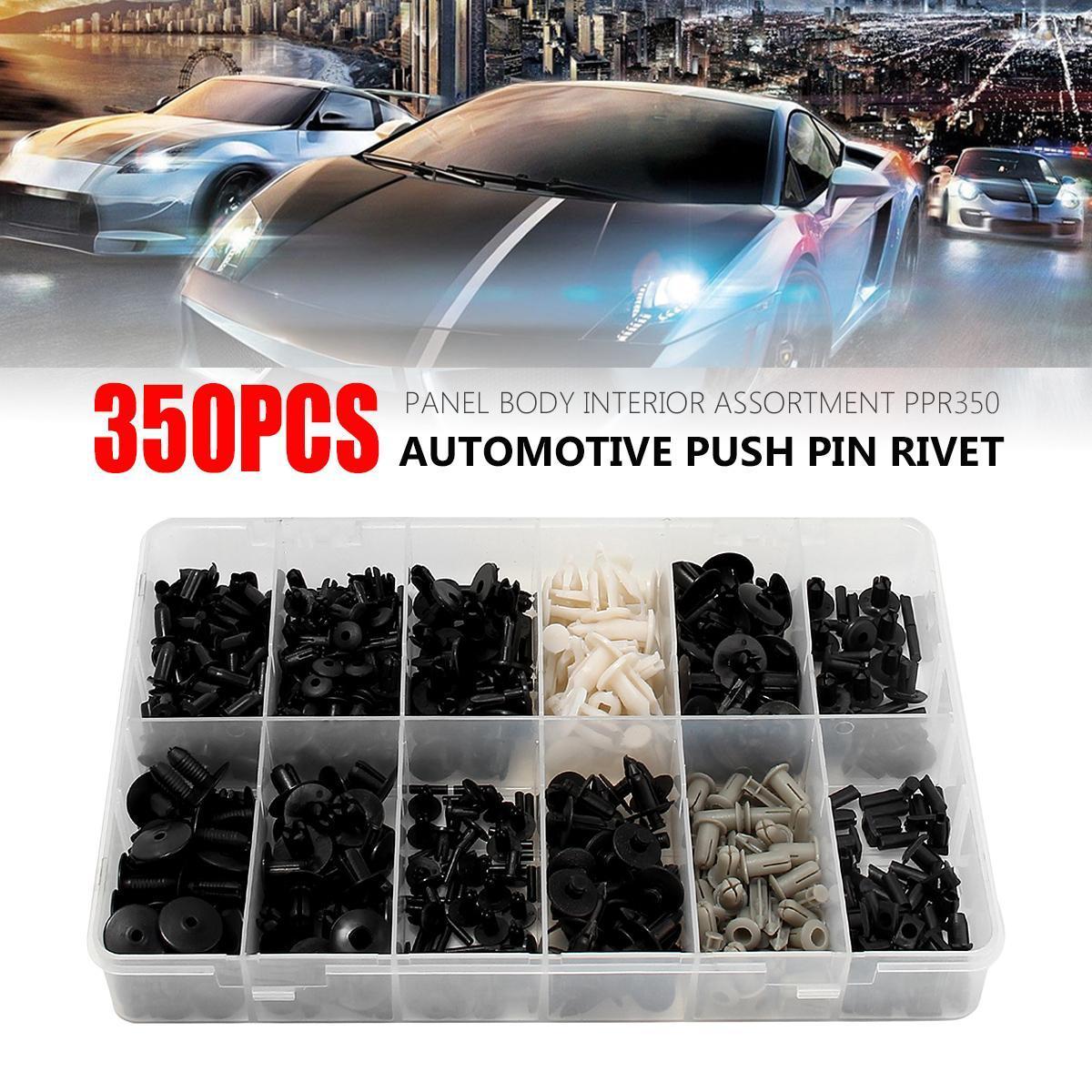 350Pcs Car Auto Plastic Push Pin Rivet Fasteners Trim Moulding Clip Assortments